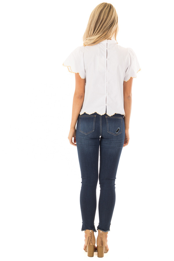 White Blouse with Embroidered Floral Front back full body