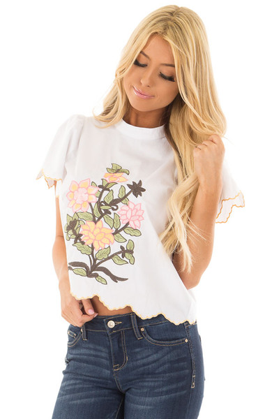 White Blouse with Embroidered Floral Front front close up