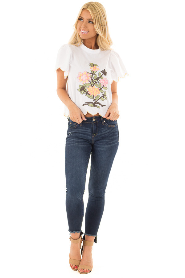 White Blouse with Embroidered Floral Front front full body