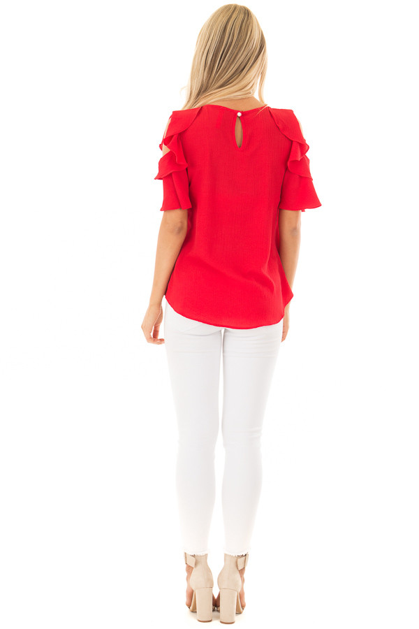 Crimson Red Cold Shoulder Blouse with Ruffle Sleeves back full body