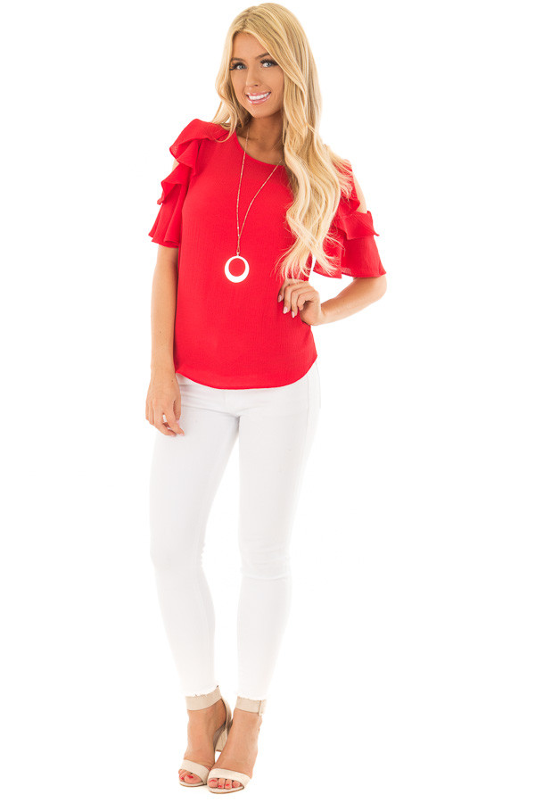 Crimson Red Cold Shoulder Blouse with Ruffle Sleeves front full body