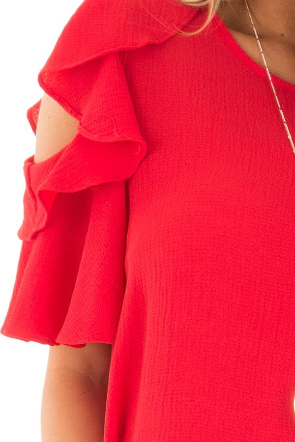 Crimson Red Cold Shoulder Blouse with Ruffle Sleeves detail