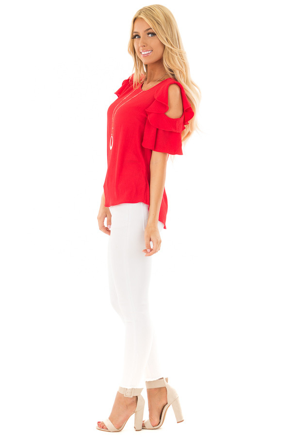 Crimson Red Cold Shoulder Blouse with Ruffle Sleeves side full body