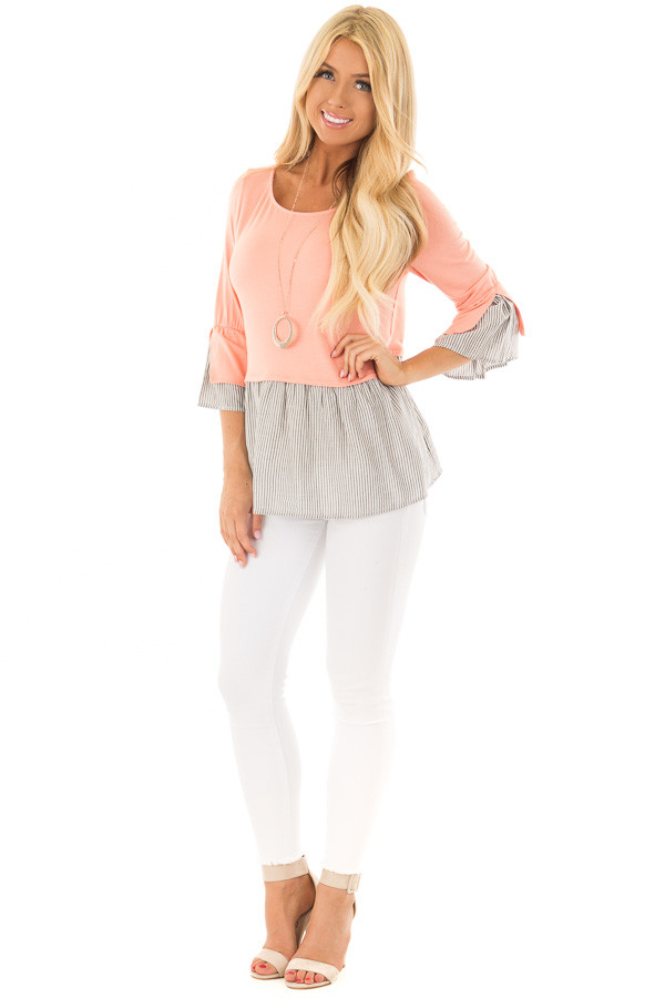 Peach 3/4 Sleeve Top with Gathered Contrast front full body