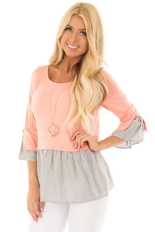 Peach 3/4 Sleeve Top with Gathered Contrast front close up