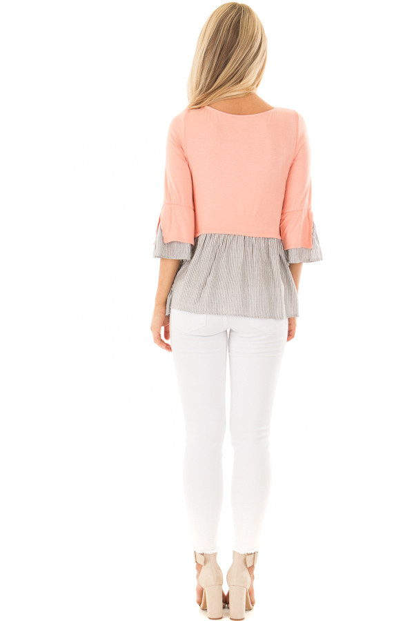Peach 3/4 Sleeve Top with Gathered Contrast back full body