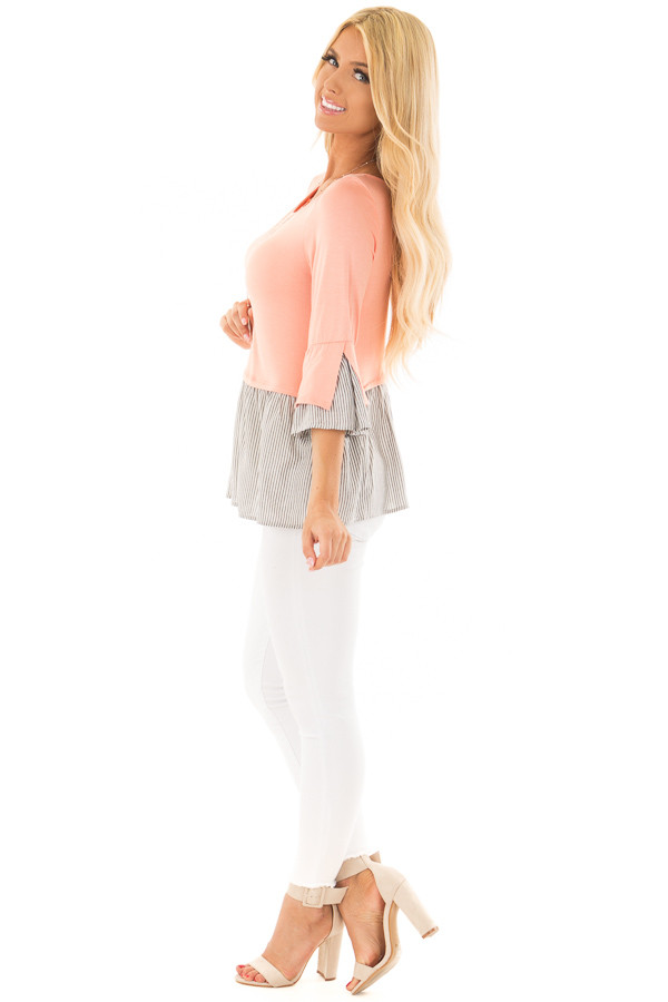 Peach 3/4 Sleeve Top with Gathered Contrast side full body
