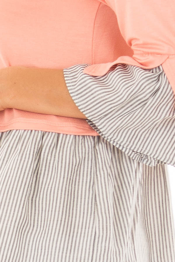 Peach 3/4 Sleeve Top with Gathered Contrast detail