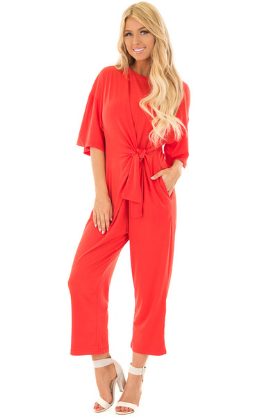 Poppy Red Slinky Jumpsuit with Waist Tie front full body