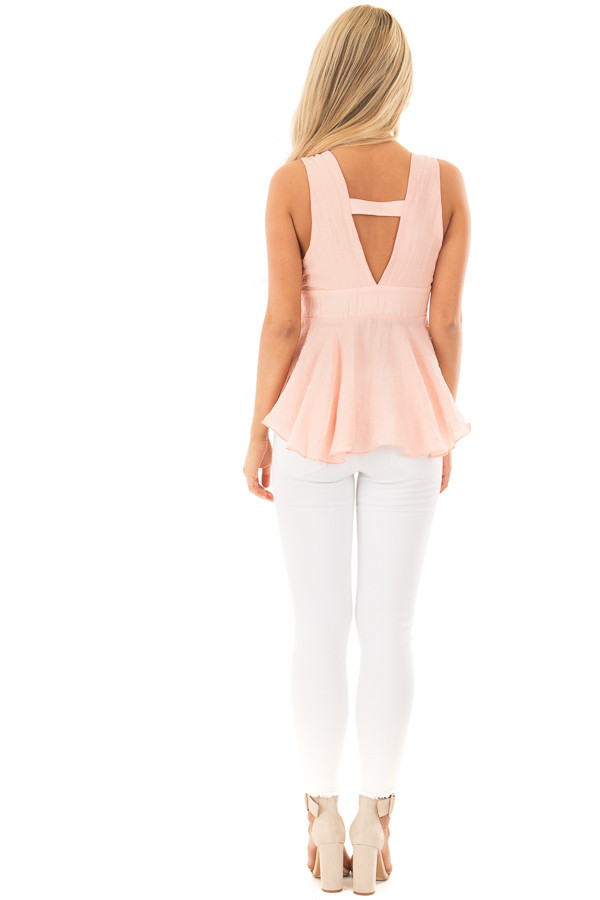 Light Peach Crossover Tank Top With Waist Tie Detail back full body