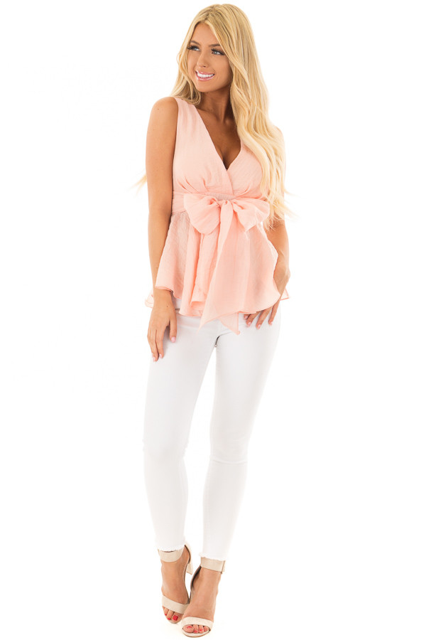 Light Peach Crossover Tank Top With Waist Tie Detail front full body