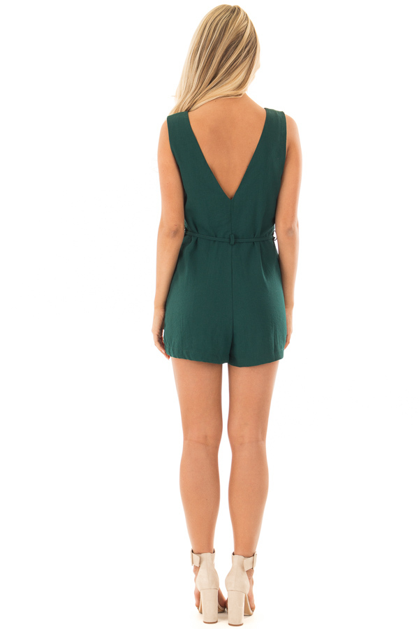 Forest Green Button Up Romper with Waist Tie back full body
