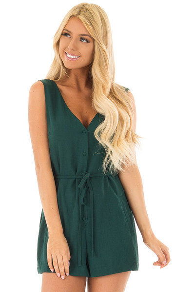 Forest Green Button Up Romper with Waist Tie front close up