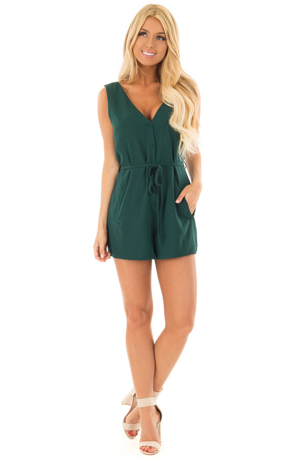 Forest Green Button Up Romper with Waist Tie front full body