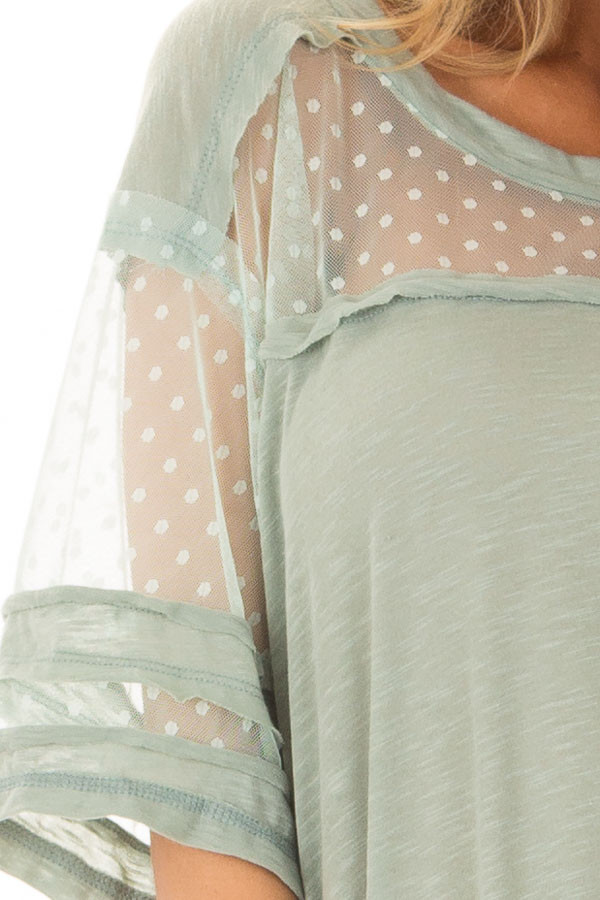 Dusty Mint Short Sleeve Top with Sheer Polka Dot Lace Detail detail