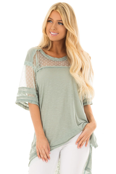 Dusty Mint Short Sleeve Top with Sheer Polka Dot Lace Detail front close up