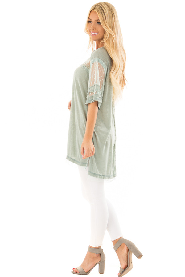 Dusty Mint Short Sleeve Top with Sheer Polka Dot Lace Detail side full body