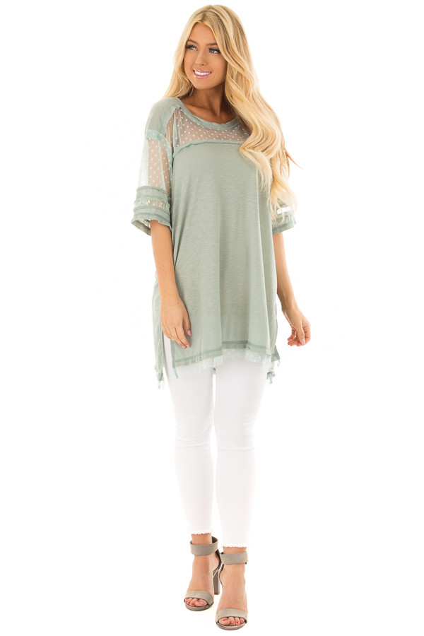 Dusty Mint Short Sleeve Top with Sheer Polka Dot Lace Detail front full body