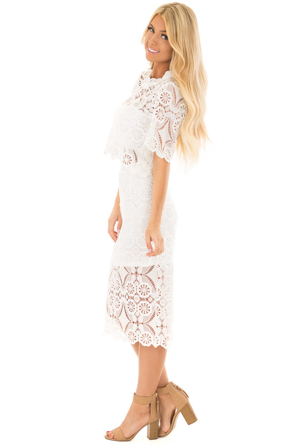Off White High Waist Lace Pencil Skirt with Back Slit side full body