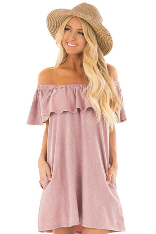 Washed Mauve Off the Shoulder Ruffle Dress with Pockets front close up