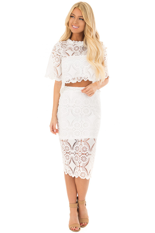 Off White Sheer Crochet Lace Crop Top with 3/4 Sleeves front full body