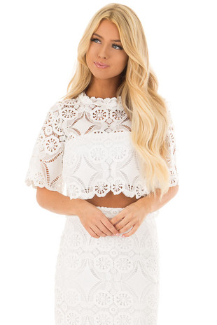 Off White Sheer Crochet Lace Crop Top with 3/4 Sleeves front close up