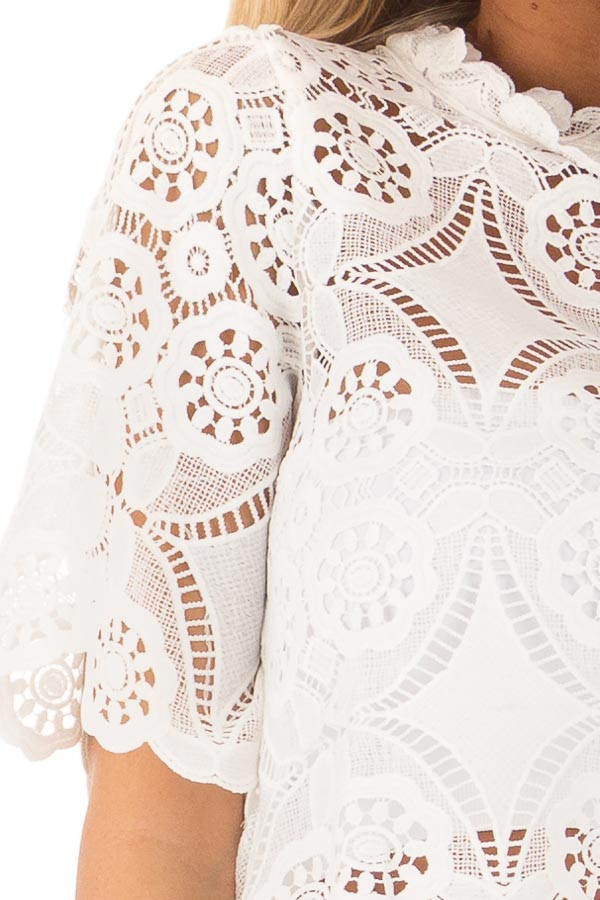 Off White Sheer Crochet Lace Crop Top with 3/4 Sleeves detail