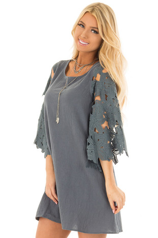 Slate Dress with Sheer Lace Sleeves front close up