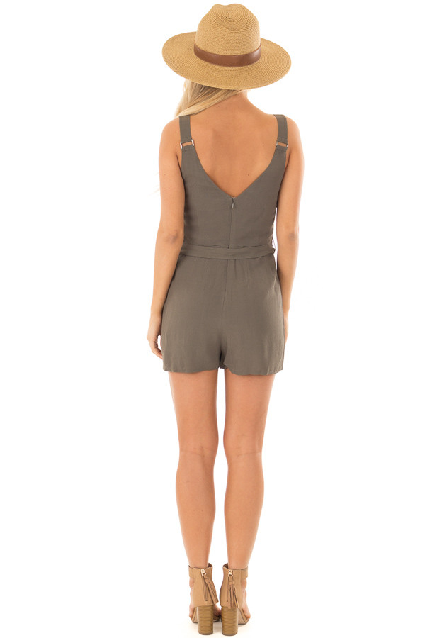 Olive Romper with Waist Tie and Buckle Straps back full body