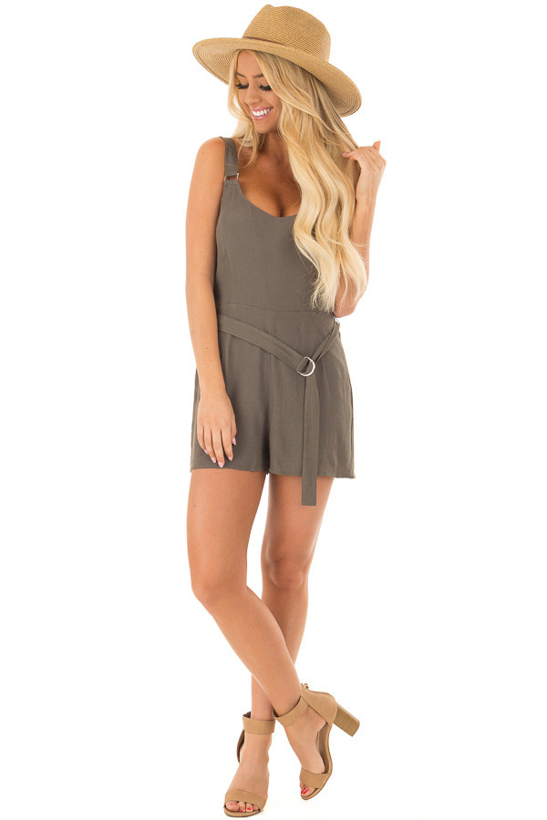 Olive Romper with Waist Tie and Buckle Straps front full body