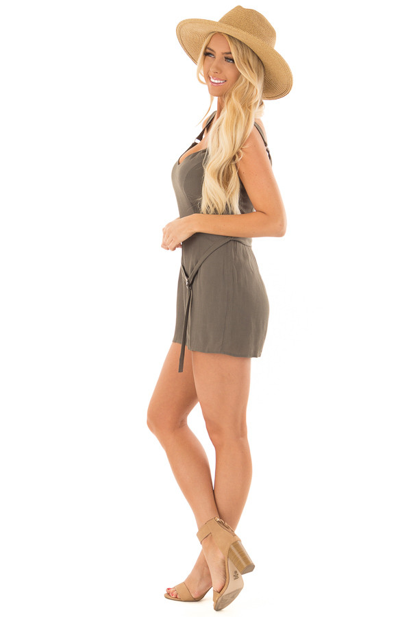 Olive Romper with Waist Tie and Buckle Straps side full body