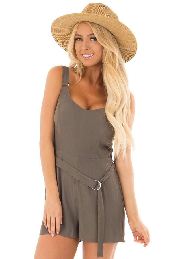 Olive Romper with Waist Tie and Buckle Straps front close up