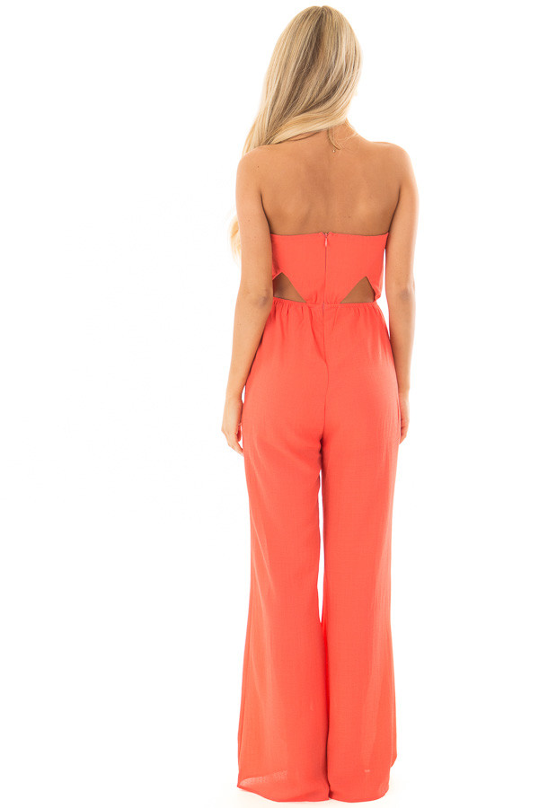 Coral Strapless Jumpsuit with Cut Outs back full body