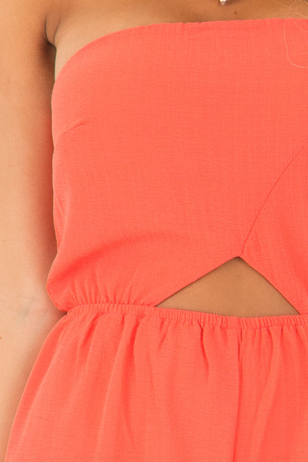 Coral Strapless Jumpsuit with Cut Outs detail