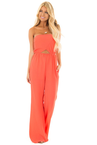 Coral Strapless Jumpsuit with Cut Outs front close up