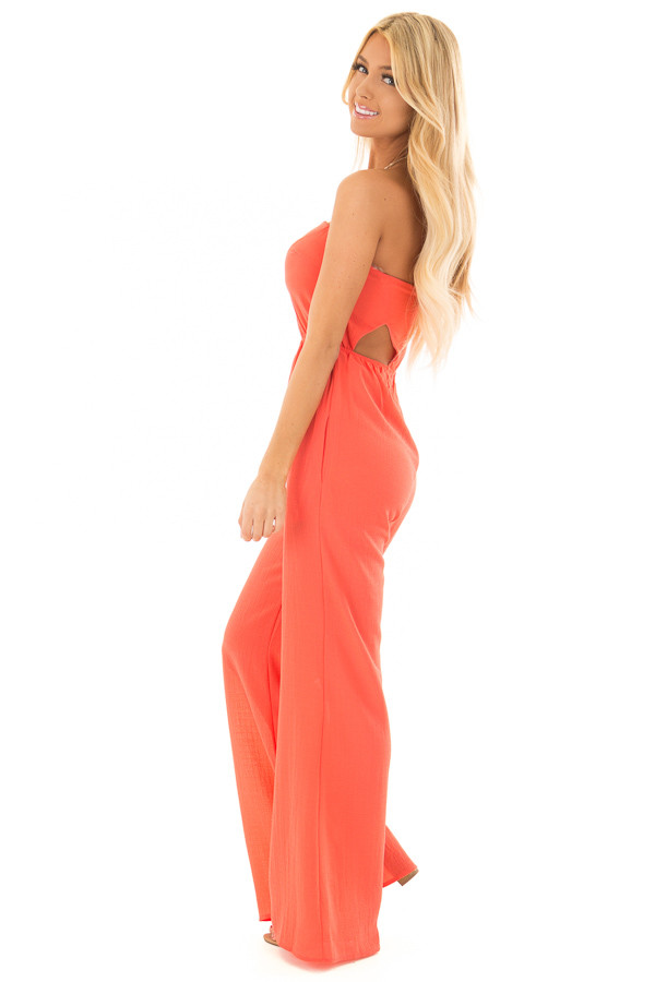 Coral Strapless Jumpsuit with Cut Outs side full body