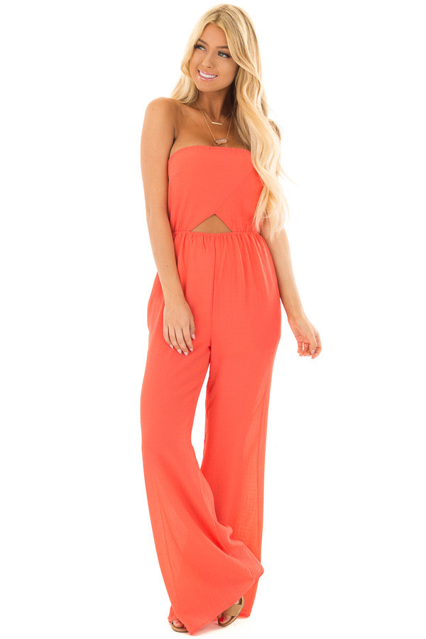 Coral Strapless Jumpsuit with Cut Outs front full body