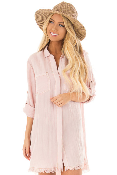 Blush Pink Button Up Dress with Frayed Hemline front close up
