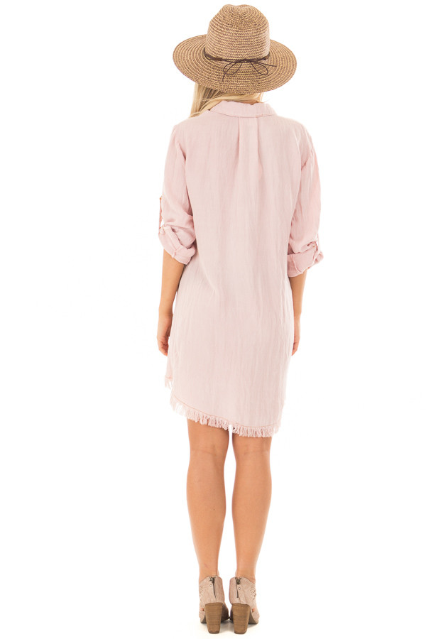 Blush Pink Button Up Dress with Frayed Hemline back full body