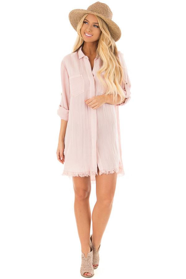 Blush Pink Button Up Dress with Frayed Hemline front full body