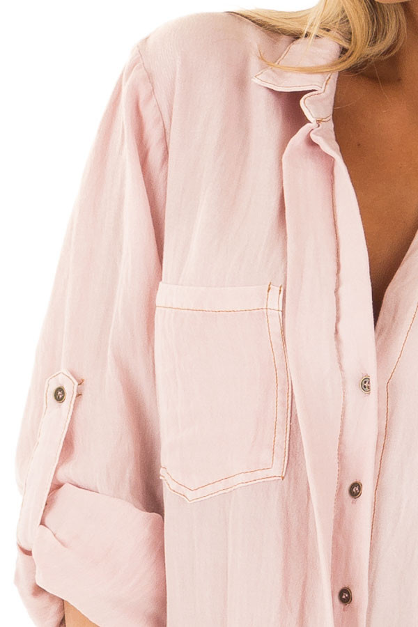 Blush Pink Button Up Dress with Frayed Hemline detail