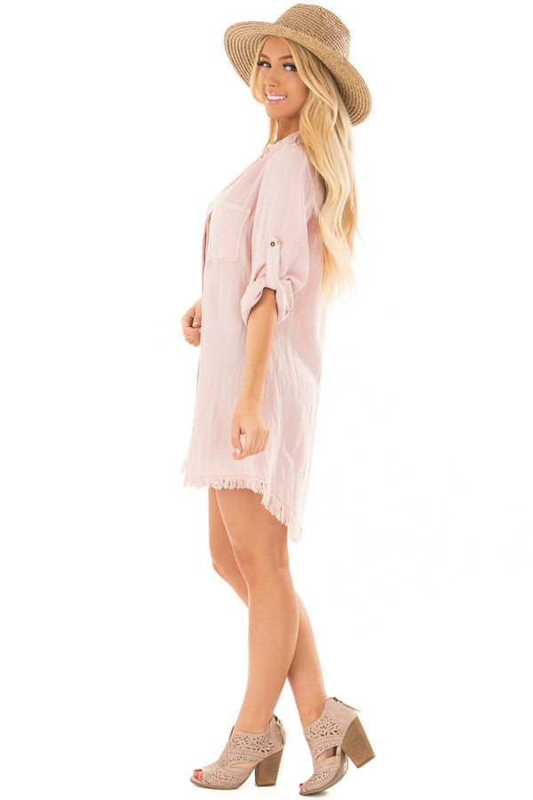 Blush Pink Button Up Dress with Frayed Hemline side full body