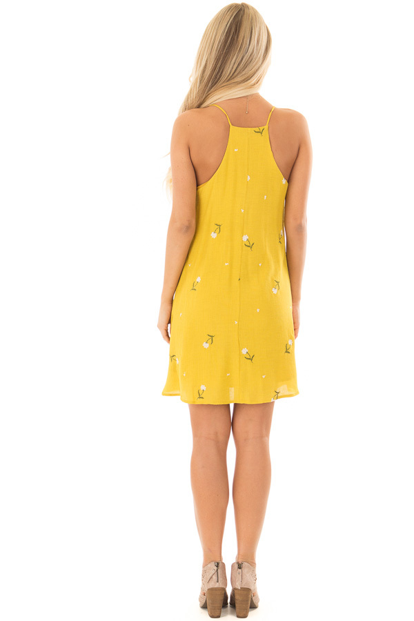 Mustard Button Up Dress with Embroidered Floral Details back full body