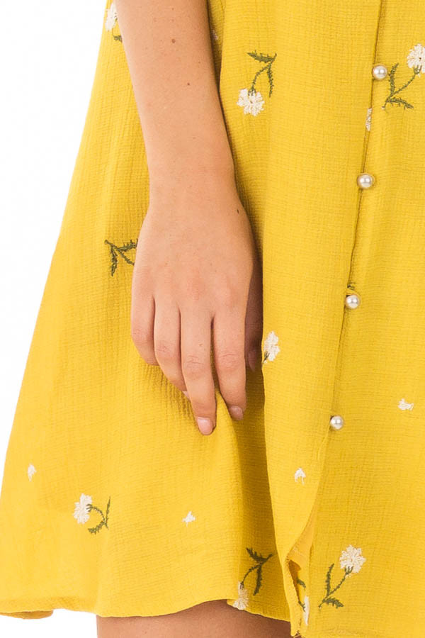 Mustard Button Up Dress with Embroidered Floral Details detail