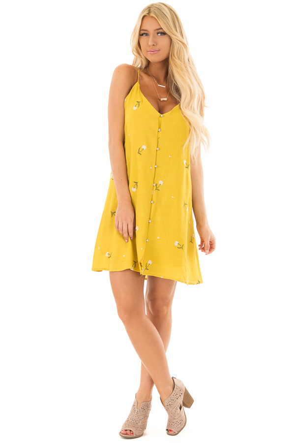 Mustard Button Up Dress with Embroidered Floral Details front full body