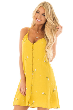 Mustard Button Up Dress with Embroidered Floral Details front close up