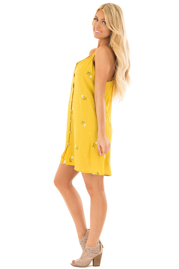 Mustard Button Up Dress with Embroidered Floral Details side full body