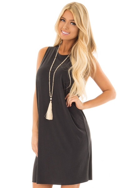 Black Tank Top Dress With Raw Edges front close up