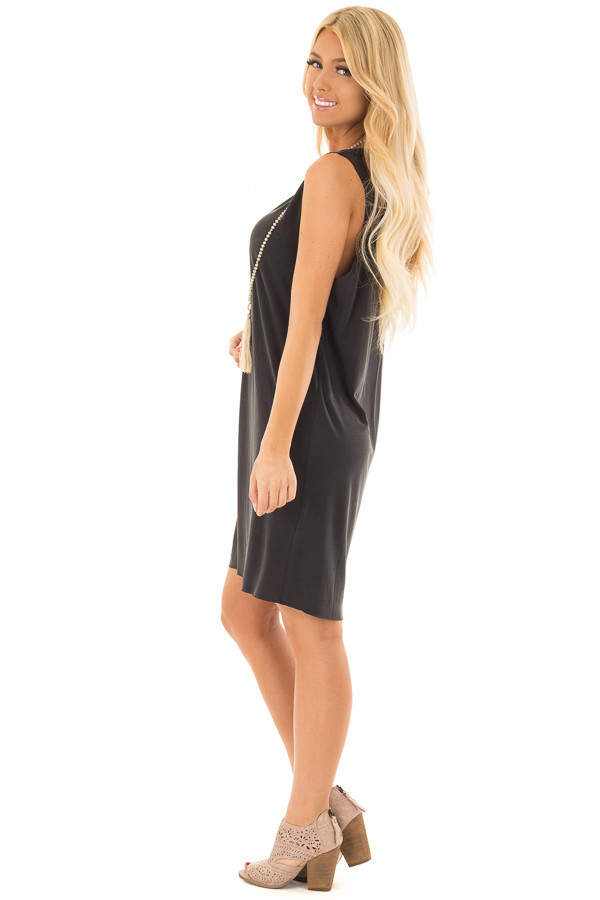 Black Tank Top Dress With Raw Edges side full body