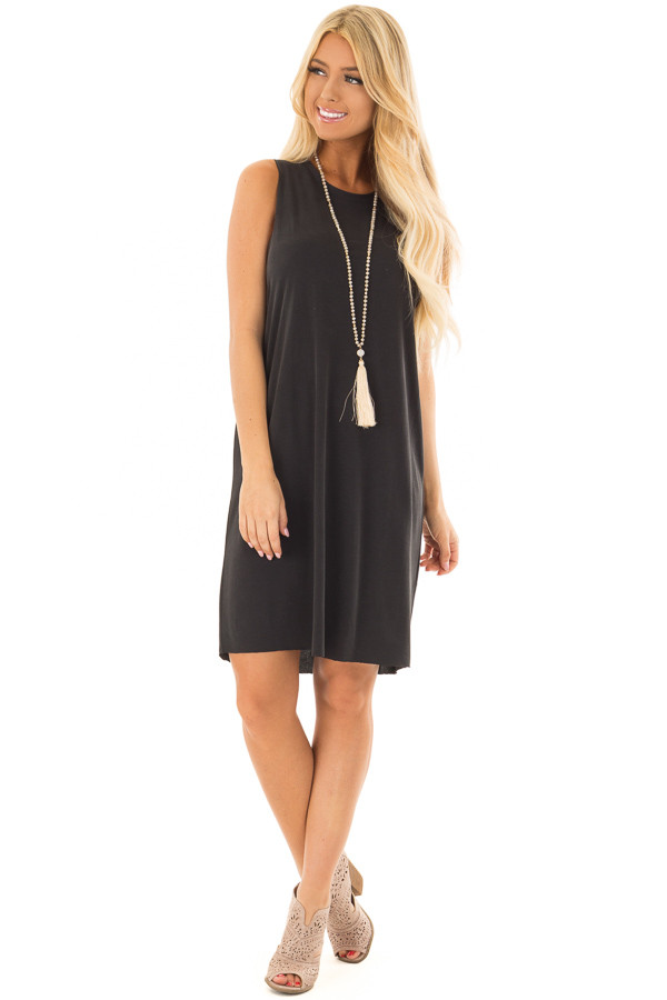 Black Tank Top Dress With Raw Edges front full body